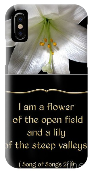 Easter Lily With Song Of Songs Quote IPhone Case