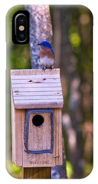Crossville iPhone X Case - Eastern Bluebird Perched On Birdhouse 4 by Douglas Barnett