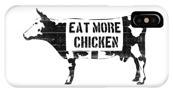 Cow iPhone X / XS Case - Eat More Chicken by Pixel  Chimp
