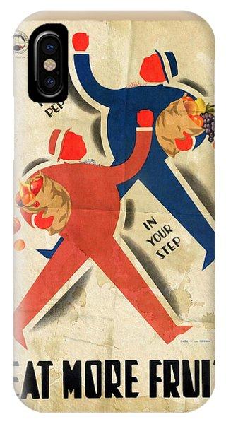 Eat More Fruit - Vintage Poster Folded IPhone Case