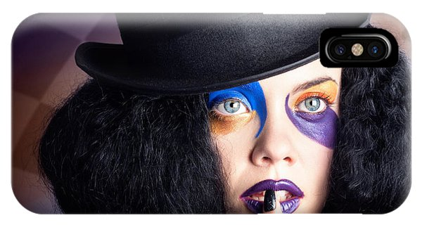 Eccentric Mad Fashion Hatter In Colourful Makeup IPhone Case