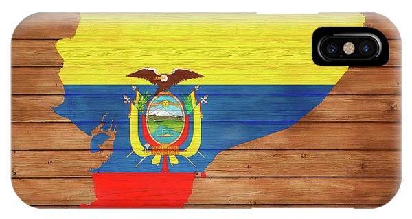 Traveler iPhone Case - Ecuador Rustic Map On Wood by Dan Sproul