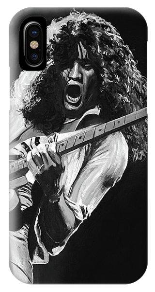 Van Halen iPhone Case - Eddie Van Halen - Black And White by Tom Carlton