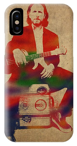 Pearl Jam iPhone Case - Eddie Vedder Pearl Jam Watercolor Portrait by Design Turnpike