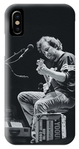 Electric Guitar iPhone Case - Eddie Vedder Playing Live by Marco Oliveira