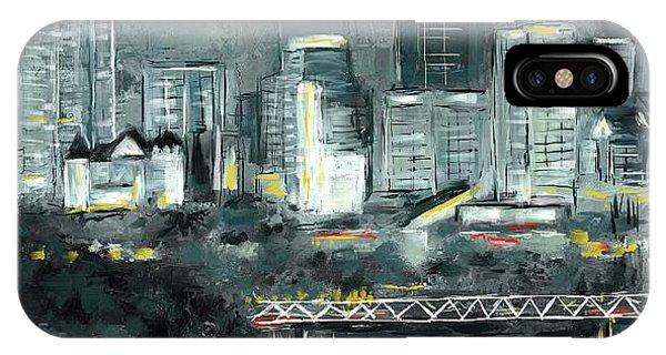 IPhone Case featuring the mixed media Edmonton Cityscape Painting by Eduardo Tavares