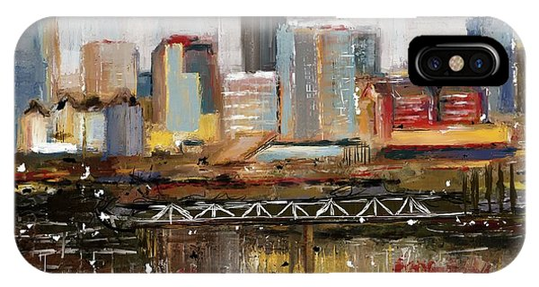IPhone Case featuring the mixed media Edmonton Skyline Abstract1 by Eduardo Tavares