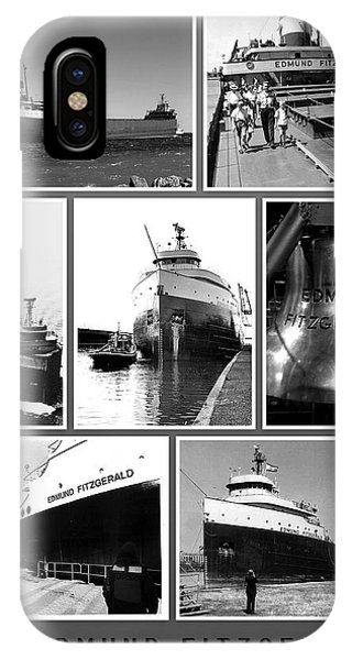 Great Lakes iPhone Case - Edmund Fitzgerald Black And White by John Farr