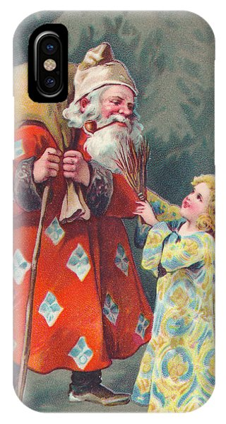 Edwardian Christmas Card Of Father Christmas Carrying A Sack And Talking To An Angel IPhone Case