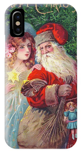 Spruce iPhone Case - Edwardian Christmas Card Of Father Christmas With An Angel by English School