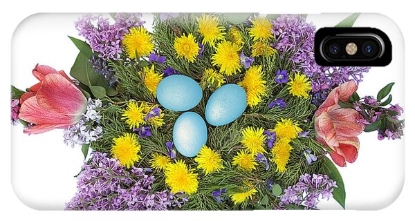 Eggs In Dandelions, Lilacs, Violets And Tulips IPhone Case