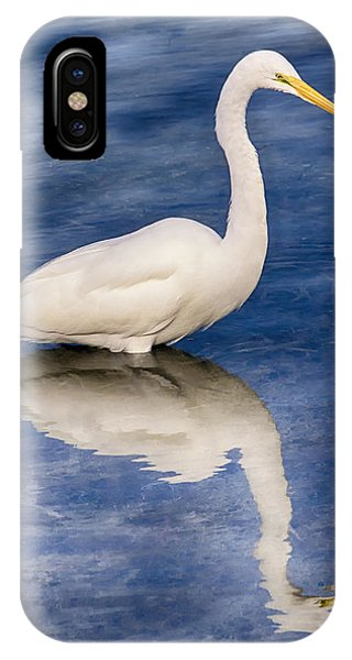 Egret Reflection On Blue IPhone Case