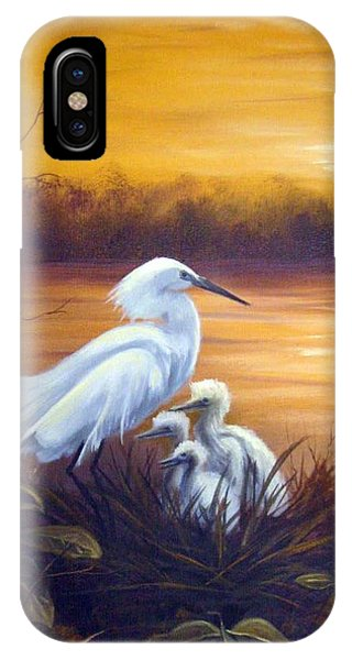 Egret With Chicks IPhone Case