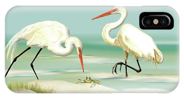 Egrets Crabbing IPhone Case