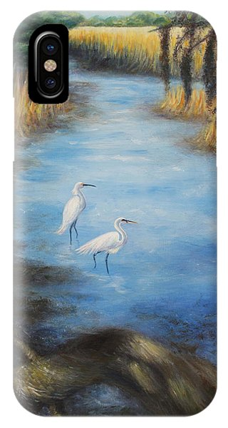 Egrets On The Ashley At Charles Towne Landing Phone Case by Pamela Poole