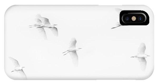 Egrets White On White B/w IPhone Case