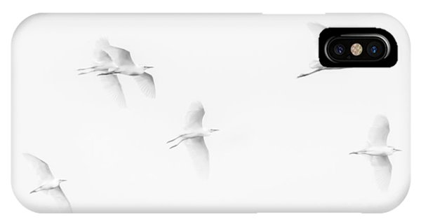 Egrets White On White B/w IPhone Case
