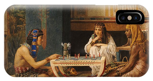 Columns iPhone Case - Egyptian Chess Players by Sir Lawrence Alma-Tadema