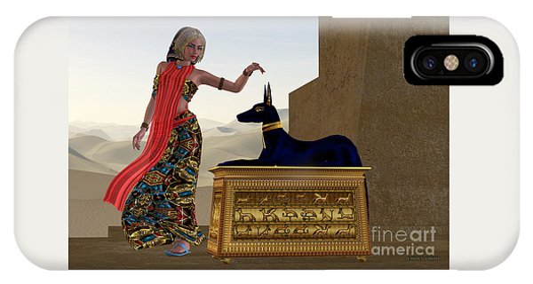 Egyptian Woman And Anubis Statue IPhone Case