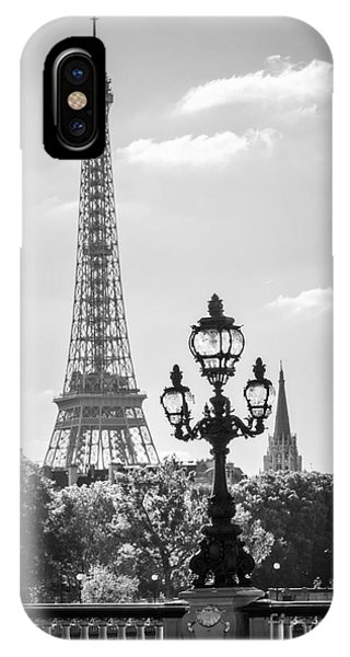 Street Light iPhone Case - Eiffel Tower And Bridge Alexandre IIi by Delphimages Photo Creations