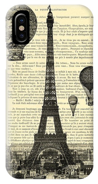 Hot Air Balloons iPhone Case - Eiffel Tower And Hot Air Balloons by Madame Memento