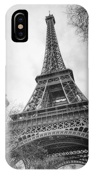 Ironwork iPhone Case - Eiffel Tower And Lamp Post Bw by Joan Carroll