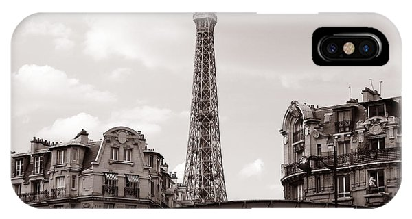 Paris Metro iPhone Case - Eiffel Tower Black And White 3 by Andrew Fare