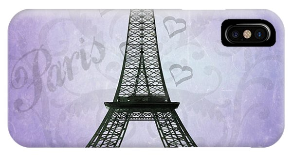 Eiffel Tower Collage Purple IPhone Case