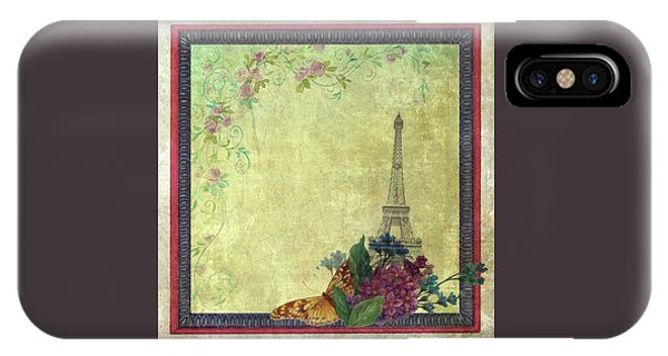 Eiffel Tower Faded Floral With Swirls IPhone Case