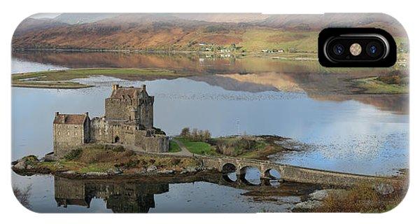 Eilean Donan Castle In Autumn - Panorama IPhone Case
