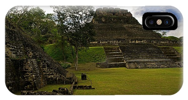 Maya iPhone Case - El Castillo Pyramid At Xunantunich by Panoramic Images