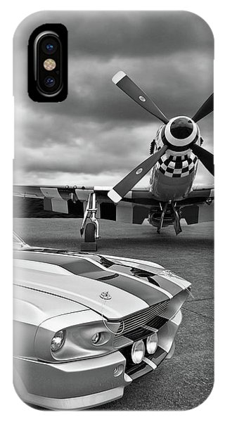 Airplane iPhone Case - Eleanor Mustang With P51 Black And White by Gill Billington
