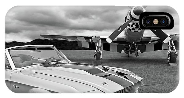 Airplanes iPhone Case - Eleanor Mustang With P51 Black And White by Gill Billington