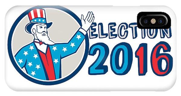 Election iPhone Case - Election 2016 Uncle Sam Hand Up Circle Retro by Aloysius Patrimonio