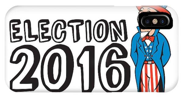 Election iPhone Case - Election 2016 Uncle Sam Shouting Retro by Aloysius Patrimonio