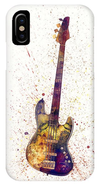 Musical iPhone Case - Electric Bass Guitar Abstract Watercolor by Michael Tompsett