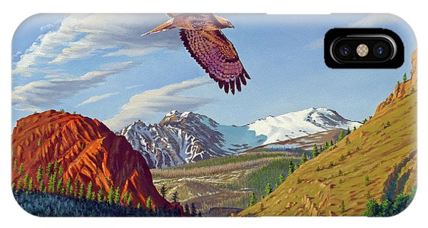 Red Tail Hawk iPhone Case - Electric Peak With Hawk by Paul Krapf