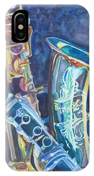 Saxophone iPhone Case - Electric Reeds by Jenny Armitage