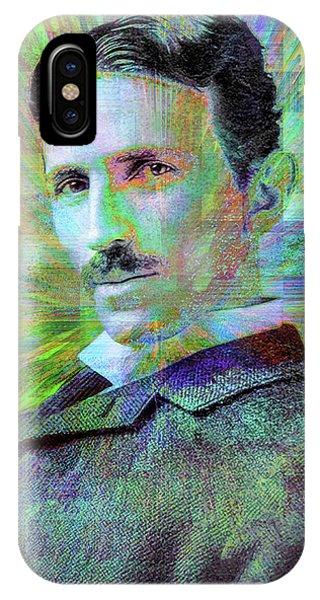 Famous People iPhone Case - Electric Tesla by Jon Woodhams
