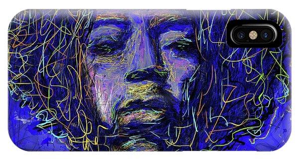 IPhone Case featuring the mixed media Electrifying Hendrix by Eduardo Tavares