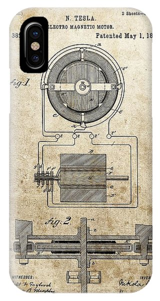 Electro Magnetic Motor Tesla Patent IPhone Case