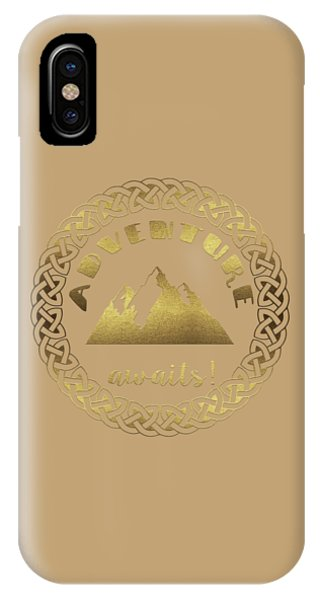 IPhone Case featuring the digital art Elegant Gold Foil Adventure Awaits Typography Celtic Knot by Georgeta Blanaru