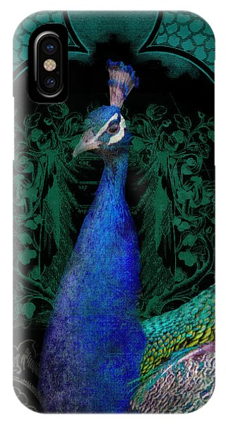 Teal iPhone Case - Elegant Peacock W Vintage Scrolls  by Audrey Jeanne Roberts