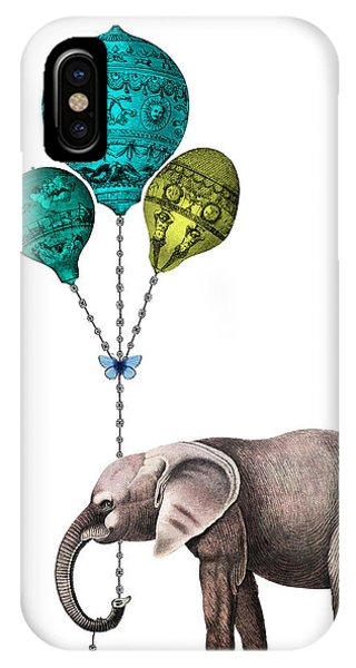 Celebration iPhone Case - Elephant Holding Blue And Yellow Balloons by Madame Memento