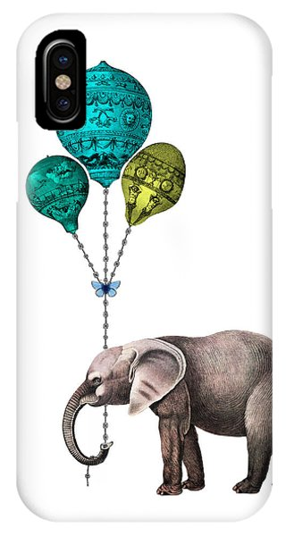 Baby Blue iPhone Case - Elephant Holding Blue And Yellow Balloons by Madame Memento