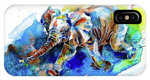 Elephant Calf Playing With Butterfly IPhone Case