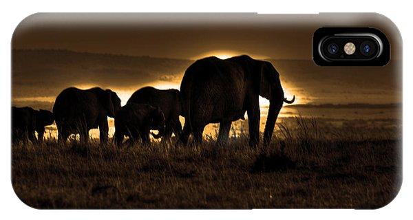 Elephant Herd On The Masai Mara IPhone Case