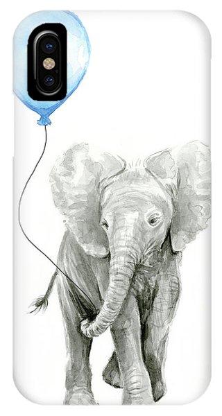 Jungle iPhone Case - Elephant Watercolor Blue Nursery Art by Olga Shvartsur