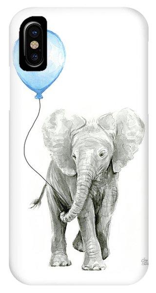 Baby Blue iPhone Case - Elephant Watercolor Blue Nursery Art by Olga Shvartsur