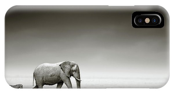 Open iPhone Case - Elephant With Zebra by Johan Swanepoel